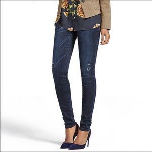 Cabi curvy skinny jeans dark wash 3194 distressed